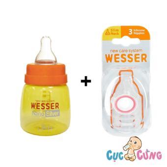 Combo bình sữa wesser nano silver 60ml + vĩ 3 ty Wesser cùng size