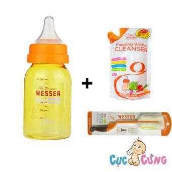 Combo bình sữa wesser nano silver 140ml + cọ rửa wesser + nước rữa wesser 500ml