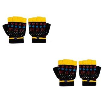 Bộ 2 Găng tay len hở ngón có nắp đậy San Baby C-3001