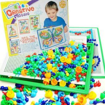 Bộ đồ chơi 296 hạt nhựa nấm xếp hình cho bé yêu