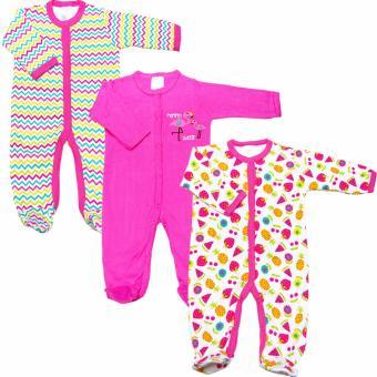 Bộ 3 áo liền quần liền tất tất bé gái Baby Gear (Màu sắc ngẫu nhiên)