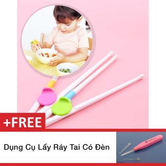 Bộ 2 đũa tập ăn cho bé - hàng Nhật + Tặng kèm dụng cụ lấy ráy tai có đèn(White)