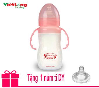 Bình sữa silicon có tay cầm XDY 240ml (Hồng) + Tặng thêm 1 núm ti DY