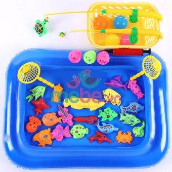 Bể phao câu cá đồ chơi cho bé kèm bơm tay 2 cần thông minh