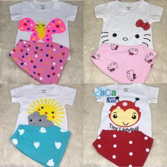 4 bộ quần áo có tay trẻ sơ sinh, coton 100% mẫu XK Size 2 7-9kg