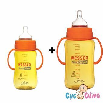 Combo 2 bình sữa wesser cổ rộng 260ml + 320 ml