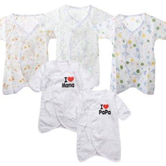 Bộ 5 áo liền quần vải xô cho bé sơ sinh