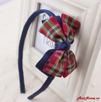 Bờm handmade xinh xắn cho bé yêu kẻ caro xanh lá đỏ BAH55