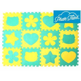 Thảm trẻ em 12 miếng 4 hình Phước Thành (Vàng phối xanh lá) - Hãng phân phối chính thức