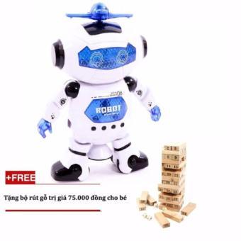 Robot Thông Minh Nhảy Múa Theo Nhạc+ Tặng Đồ Chơi Rút Gỗ Cho Bé Yêu(Xanh)