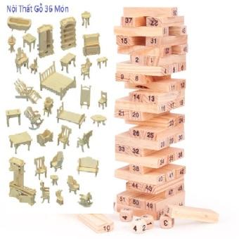 Bộ 2 Bộ đồ chơi rút gỗ Wiss Toy 54 thanh Và Bộ Đồ Chơi Thông Minh Lắp Ghép Gỗ 3D Cho Bé Yêu
