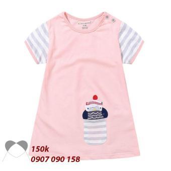 Đầm thun bé gái màu hồng thêu họa tiết