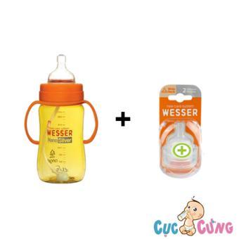 Bộ bình sữa wesser 260ml có ống hút + Vỹ ty Wesser Size + 2 cái/vỹ