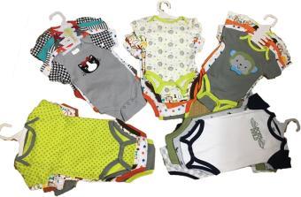 Combo 5 áo liền quần (body suite Baby Gear) cho bé trai từ 0-3 tháng (mầu sắc bất kì)
