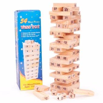 Bộ đồ chơi rút gỗ Wiss 54 thanh kèm 4 con súc sắc cho bé(Nâu)