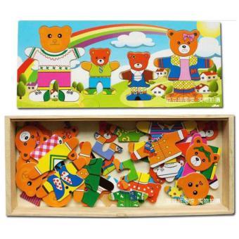 Bộ đồ chơi gỗ thay đổi quần áo, cảm xúc Gia Đình Gấu