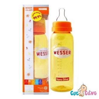 Bình sữa Wesser Nano Silver cổ thường 250ml(Vàng)