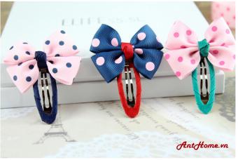 Bộ kẹp nơ handmade xinh xắn KN46 (Hồng kẻ xanh)