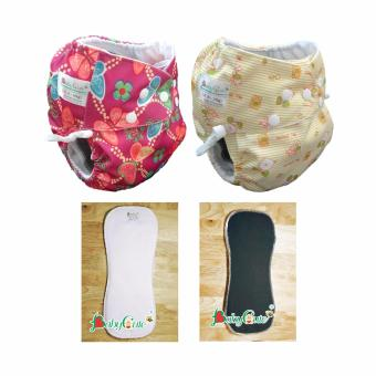Bộ 2 tã đêm BabyCute size M (8-16kg) và 1 lót M ngày, 1 lót M đêm (Bướm hoa, Thú bông)