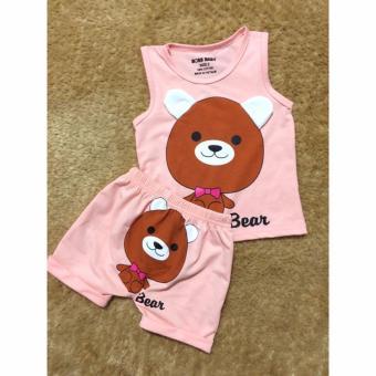 Quần áo trẻ em mùa hè in hình con Gấu BTE023 (Màu Hồng)