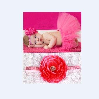 Bộ băng đô và váy chụp ảnh cho bé (Hồng đậm)