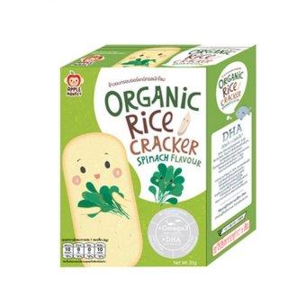Bánh gạo Organic APPLE MONKEY bổ sung OMEGA3 và DHA vị Rau Bina 30g (Xanh lá)