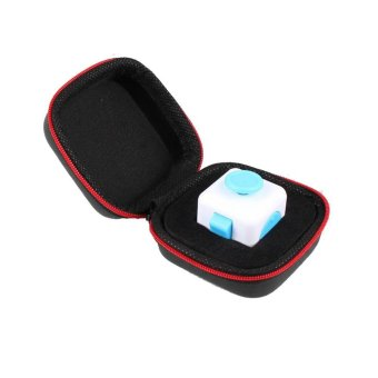 Gift For Fidget Cube Anxiety Stress Relief Focus Dice Bag Box Carry Case Packet Black - intl