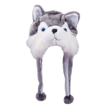 Cartoon Animal Shaped Children Kids Adult Winter Warm Soft Plush Hood Earmuff Scarf Hat Cap Husky Gift For Friend