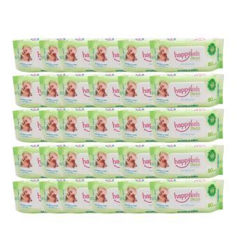 Bộ 30 gói khăn ướt hương lô hội 80 tờ Happykids Nano (Xanh lá)
