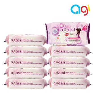 Mua Bộ 10 gói khăn ướt Agassi hương nhẹ 20 tờ (Màu tím) giá tốt nhất