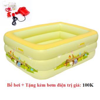 Bể bơi 3 tầng cho trẻ em (vàng chanh) + tặng kèm bơm điện - Hồng Nhung