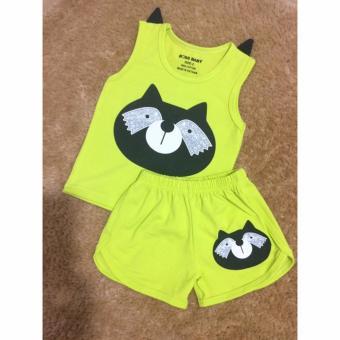 Bộ cáo nơ vai (Xanh chuối) - Quần áo trẻ em