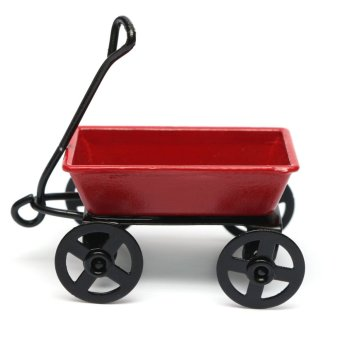 Dollhouse Miniature Metal Red Pull Cart With Wheels 1:12 Scale Fairy Garden NEW - intl
