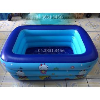 Bể bơi 3 tầng hình chữ nhật cho bé loại 130x85x55cm + Tặng bơm điện