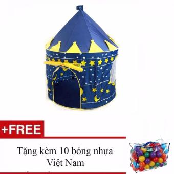 Lều bóng lâu đài hoàng tử (Xanh) + Tặng kèm 10 bóng nhựa Việt Nam