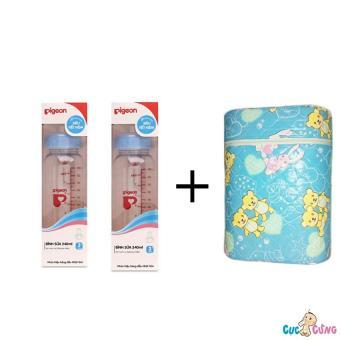 Bộ cặp Bình sữa Pigeon hình 240ml cổ thường và Bình ủ sữa đôi Hello Baby
