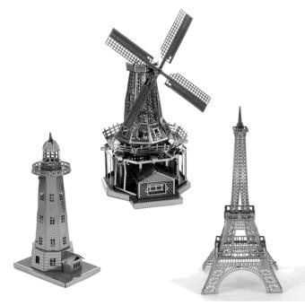 Bộ 3 xếp hình 3D kim loại Cối xay gió Hà Lan + Tháp EIFEN + Ngọn hải đăng ALEXANDER