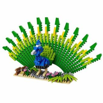 Bộ đồ chơi lắp ghép hình 3D mô hình chim công (xanh)