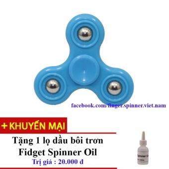 Đồ Chơi Con Quay Giúp Xả Stress Fidget Spinner (Xanh Nước Biển) + Tặng Dầu Bôi Trơn Fidget Spinner Oil