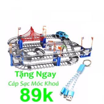 Bộ đồ chơi cao cấp lắp ráp đường ray cho ô tô ,xe lửa + Cáp sạc móc khóa