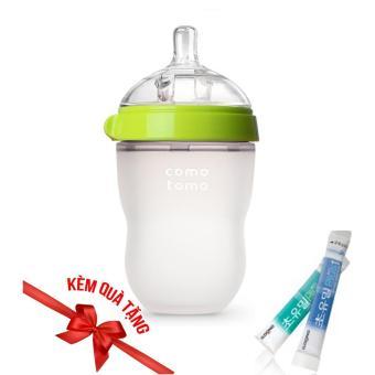 Bình sữa Comotomo 250ml viền xanh + Tặng 1 gói sữa non ildong Hàn Quốc