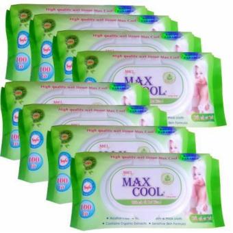 Bộ 9 gói khăn ướt Maxcool 100 tờ, không hương