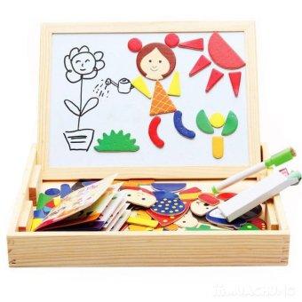 Bảng viết nam châm hai mặt kèm bộ ghép hình gỗ cho bé