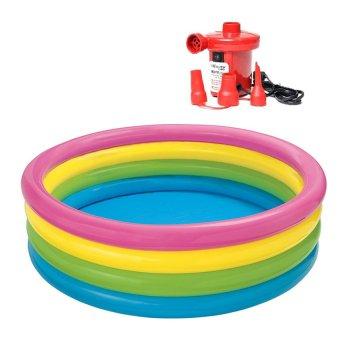 Bộ bể bơi cho bé 56441 và bơm điện hút xả hơi