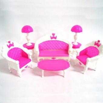 bộ sofa búp bê màu hồng