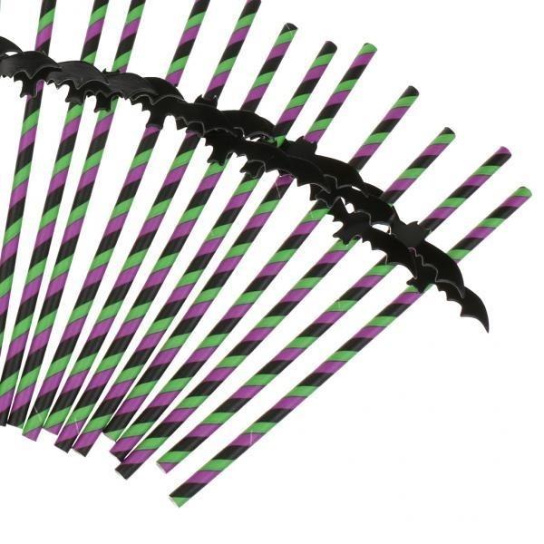 Hình ảnh MagiDeal 25pcs Stripe Paper Drinking Straws Halloween PartySupplies Bat - intl
