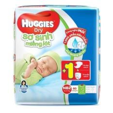 Miếng lót sơ sinh Huggies Newborn 2 N60 (4-7kg) 60 miếng + Tặng 1 tã dán và 1 tã quần sơ sinh