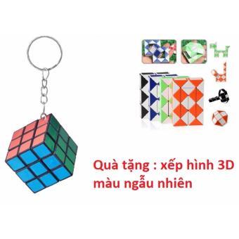 Móc khóa rubik 3x3 + tặng Xếp Hình 3D (màu ngẫu nhiên)