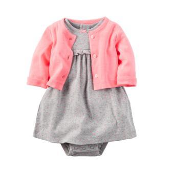 OE680TBAA6F64OVNAMZ-11838405 - Set 2 đầm xám chấm bi và áo khoác hồng (Size 6 đến 12 tháng)