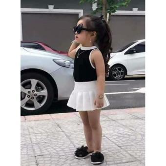 OE680TBAA6RV0PVNAMZ-12447277 - Set đầm trắng áo thun đen bé gái 1-8T